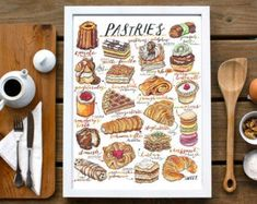 Food by LouPaper on Etsy Bakery Kitchen, Kitchen Decor, Kitchen Tips, Delicious Donuts, Gifts For Cooks, Cheese Lover, Pasta, Food Illustrations, Cute Food