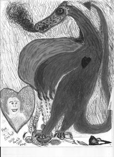 Dibujo a lapíz, de portada de mi libro:Rl Hueco del Dragón. Por MRR.