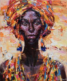 African woman portrait painting 50 x 60 cm Original oil painting