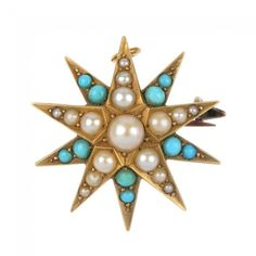 An early 20th century 15ct gold turquoise and split pearl brooch.