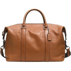 203649f25bc61 Pre-owned Coach Explorer Leather Duffle Saddle Travel Bag ($475) ❤ liked on