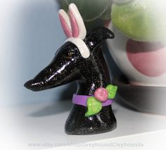 Greyhound Whippet Clay Galgo Sculpture Black Miniature Bust with Bunny Ears by GreyhoundCleyhounds on Etsy