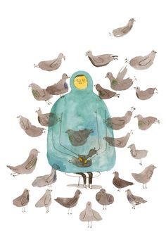 La dame aux pigeons by Marion Barraud Autumn Illustration, Children's Book Illustration, Disney Princess Cartoons, Inspiration Art, Illustrations And Posters, Art Design, Pigeon, Watercolor Art, Character Design