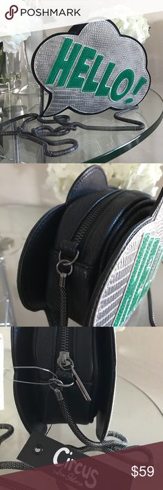 ✨New Sam Edelman Fun Hello Bag Purse✨ Brand New Fun Crossbody Purse Circus by Sam Edelman Green and Silver Hello Logo Sign with a chain belt. Black sides. Please ask questions if interested. Circus by Sam Edelman Bags