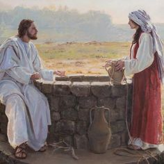 """""""At the Well"""" - art by Crystal Suzanne Close; from Tell Me the Stories of Jesus art competition via history. Pictures Of Jesus Christ, Bible Pictures, Lds Art, Bible Art, Catholic Art, Religious Art, Jesus Stories, Bible Stories, Christian Artwork"""