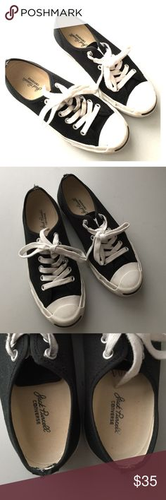 Converse black and white jack purcell sneakers 5 Good used condition. Lots of life left! Classic sneakers go with everything! Very comfortable. Heels have small tearing pictured. Size 5 women's, 3.5 men's. Bundle to save 25%! Converse Shoes Sneakers