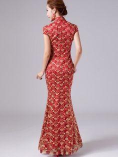 Floral Fishtail Cheongsam / Qipao / Chinese Wedding Dress