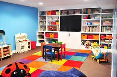 all in one toy/book/media center storage option for basement playroom