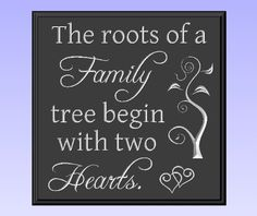 "Decorative Wood Sign Plaque Wall Decor with Quote ""The roots of a Family tree begin with two Hearts."" Carved and Painted 11.25""x11.25"" Black/Antique White by TimberCreekDesign.com, http://www.amazon.com/dp/B0041T7HSE/ref=cm_sw_r_pi_dp_JVxDqb0VJXGP2"