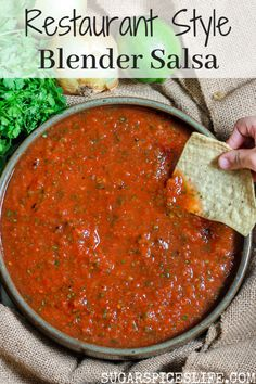 Restaurant Style Blender Salsa. This salsa couldn't be easier or quicker to make, and will rival even the best of restaurant salsas. #sugarspiceslife #blendersalsa #salsa #restaurantstylesalsa #Mexican #appetizer #tailgatingfood #sidedish #chipsandsalsa #appetizer