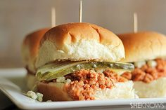 All-natural buffalo turkey sloppy Joe sliders with blue cheese