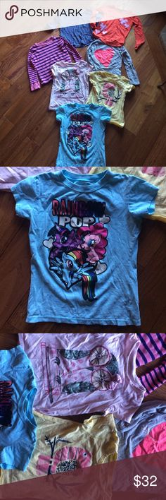 A 7 piece shirt bundle in size 5/6 gently used A 7 piece shirt bundle in size 5/6 gently used. Brands include my little pony, Oshkosh, kids korner, old navy, tucker Tate. I great gently used condition Shirts & Tops