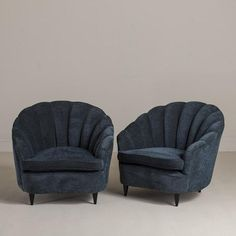 """Vendor: Talisman  Product: French Shell Back Armchairs 1930s on tapered Ebonised Legs  Specs:Height 31.5"""" Width 33.5"""" Depth 34.3"""""""