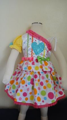 New colorful bright dots candy theme pageant casul wear outfit 2/3T OOC