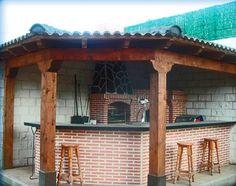 Cocina exterior en esquina barbacoas cocinas y pergolas for Cocina exterior jardin