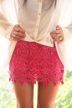 Sheer button-down blouse, pink lace skirt, good accessories = Great outfit Pink Lace Skirt, Lace Mini Skirts, Cute Skirts, Coral Lace, Red Lace, Coral Skirt, Flower Skirt, Short Skirts, Eyelet Skirt