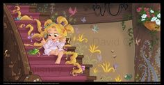 Baby Rapunzel and Pascal by David Gilson