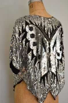 Vintage 1970s Disco Butterfly Sequin Top....to amazing