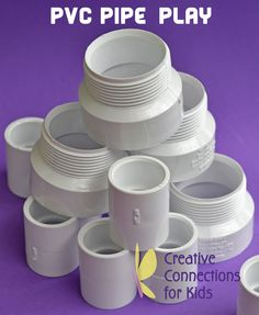 PVC Pipe Play - stacking, dumping, nesting, building, stringing ~ Creative Connections for Kids