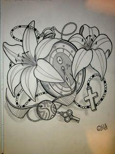 pocket watch tattoo sketch