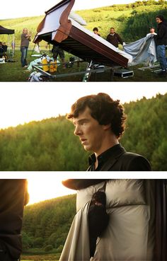 "How they shot the scene where Sherlock ""falls"" back onto the bed. They actually built a giant swinging bed and put it out in the grass meadow area. Benedict was standing for the entire time and simply pulled a sheet up over his shoulders as the bed swung up."