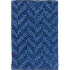 Showcasing a herringbone design in navy, this hand-woven wool rug is perfect anchoring your living room seating group or defining space in the den. ...