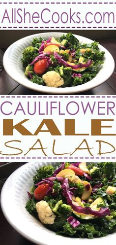 Enjoy this tasty Cauliflower Kale Salad that is made with the freshest healthy ingredients and superfood ingredient kale. This is a power salad perfect for lunch or dinner.