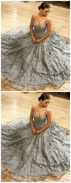Gray v neck tulle lace long A line prom dress by olesaweddingdresses, $149.69 USD Classy Prom Dresses, A Line Prom Dresses, Evening Dresses, Formal Dresses, Party Dresses, Chromatic Aberration, Wedding Veil, Tulle Lace, Long A Line
