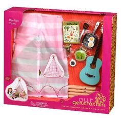 Our Generation Mini Teepee Playset for Dolls, Pink Tent Accessories, Baby Doll Accessories, Cosas American Girl, Girl Dolls, Baby Dolls, American Girl Doll Room, American Girl House, American Girl Furniture, American Girls