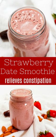 This strawberry date smoothie is full of fiber, which relieves #constipation, lowers cholesterol and solves your sweet tooth. It makes a great breakfast or pick-me-up in the afternoon.