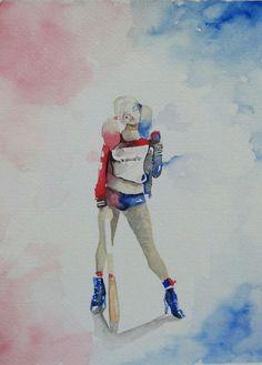 Harley quinn watercolor aquarela