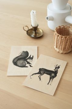 The gentle Bear postcard features a beautiful wild brown bear. Plywood Art, Deer Art, Sustainable Design, Small Gifts, Scandinavian Design, Squirrel, Birch, Creatures, Place Card Holders