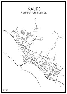 Kalix. Sverige. Karta. City print. Print. Affisch. Tavla. Tryck.