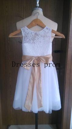 Tul blanco niña flor infantil niño desfile vestido por Dressesprom