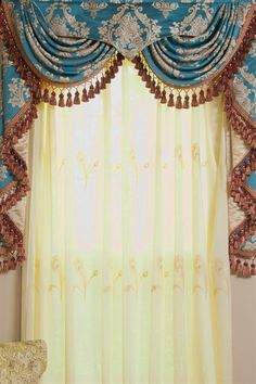 Celuce. Blue Lantern Swag Valances Curtain Drapes 50 inch  The dream combo of turquoise blue and gold makes Blue Lantern curtains a fantasy come true. The meticulous details of the pattern evoke the memory of the exotic land of far east. Luxurious and sophisticated, it is understated elegance at its finest.   http://www.celuce.com/p/169/blue-lantern-swag-valances-curtain-draperies-50-inch
