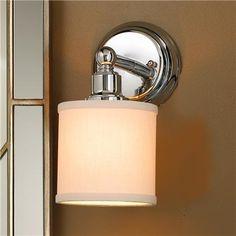 Linen Drum Shade Bath Light Sconce - Bronze or Chrome