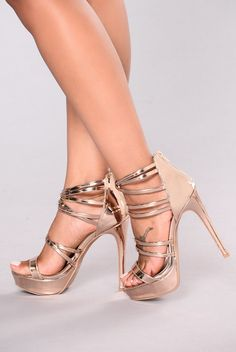 Strapped For Success Heel - Rose Gold