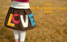 Love Skirt tutorial - Make it for free in one hour if you already have  tee shirt, elastic, scrap felt, embroidery floss, scissors, and sewing machine.