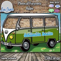 Photocall furgoneta hippie verde Cha Bar, Tiki Party, Hippy, How To Draw Hands, Van, Cards, Inspiration, Deco, 70s Party