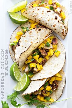 Caribbean Chicken Tacos -- super easy to make and comes together in less than 30 minutes!