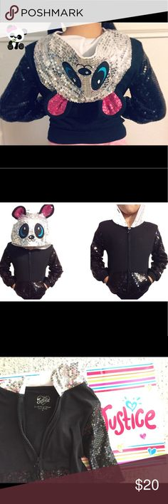 Panda sequined hoodie for little girls size 5. Cute little panda sequined hoodie for little girls size 5. Excellent condition. Justice Shirts & Tops Sweatshirts & Hoodies
