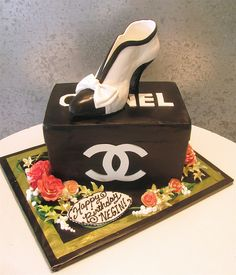 Black Lace Shoe Cake Chic Cakes Pinterest Lace