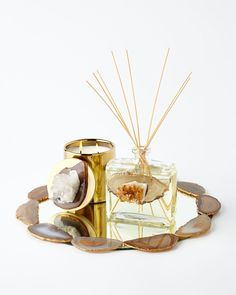 Horchow Natural Stone Reed Diffuser, Candle, & Tray
