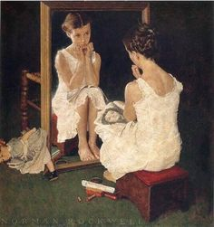 Norman Rockwell (1894-1978, USA; romantic realism | Girl at Mirror,  1954