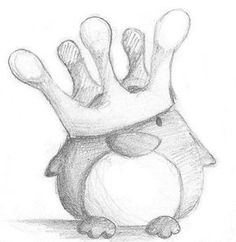 Penguin King by B-Keks - # Penguin # drawing - Kochen - Art Sketches Art Drawings Sketches Simple, Pencil Art Drawings, Easy Drawings, Easy Animal Drawings, Colour Pencil Drawing, Drawing Ideas, Cute Drawings Of People, Doodle Art, Doodle Drawings