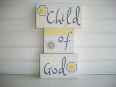 Child of God. Letter Block Set. Nursery Decor by RessieLillian, $36.00