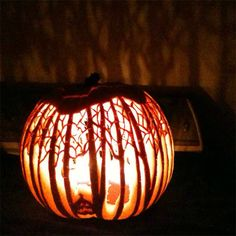 Halloween idea - the detail on this carving is amazing. Look at the branches on the trees and the jack-o-lantern . 15 Awesome Pumpkin Carving Ideas for Those Who Lack Imagination - Zingery Pumpkin Carving Contest, Pumkin Carving, Amazing Pumpkin Carving, Pumpkin Carving Patterns, Citouille Halloween, Holidays Halloween, Halloween Pumpkins, Homemade Halloween, Halloween Quotes