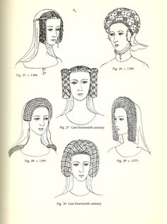 mediumaevum:  I hope this will help with your reenactments and fanart. :) Anglo-Saxon (600 – 1154): Simple Veils, Head-tires, Combs, and Pin Norman (1066-1154): Couvre-chef, hair uncovered, and extreme length Plantagenet (1154-1399): Wimple, Barbette, Fillet and Crespine Plantagenet (14th century): Horizontal Braiding, Gorget Plantagenet Crespine ( 1364-Late 14th century) Lancaster (1430-1460): Heart-shaped and Turban Headdresses York (1460-1485): Butterfly and Hennin More info and styles at…