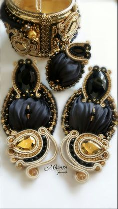 ' Princess of Arabia ' parure_ shibori silk and soutache design by Mhoara Jewels