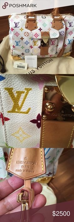 %authentic LV SPEEDY MULTICOLOR @ CONSIGNMENT White multicolor speedy MURAKAMI Limited edition don't sell in the store no more took good care of it like my baby very good condition inside so clean only minor scratches on the metal of the corners water stain on 2 parts of where the studs close to handle you can see handle patina is dark had it for yearsonly the pocket have a little bit of interior bleed out not noticeable, no stain or color transfer in the body no odor non smoking and pet…